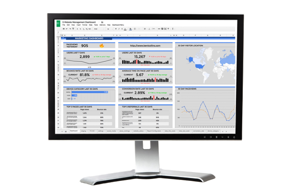 Google Sheets digital marketing dashboard