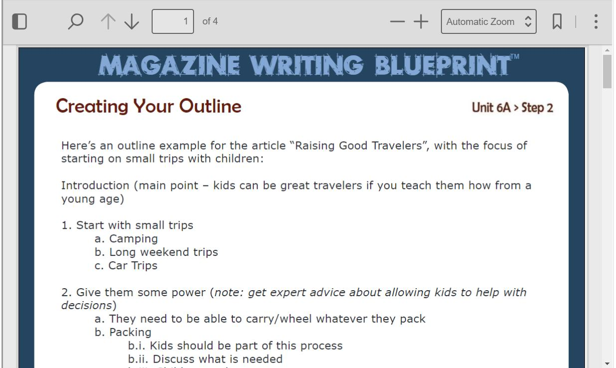 how to write a magazine article outline