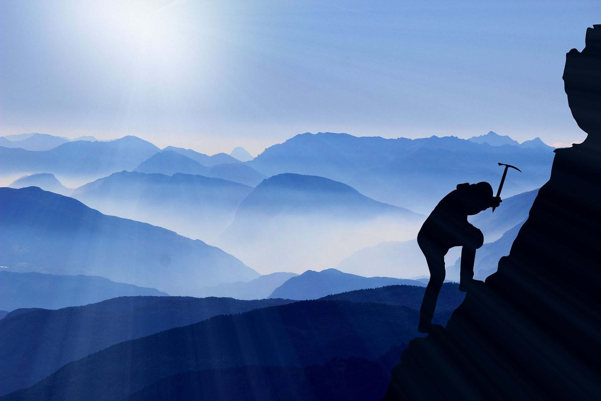 Success struggle, mountaineer