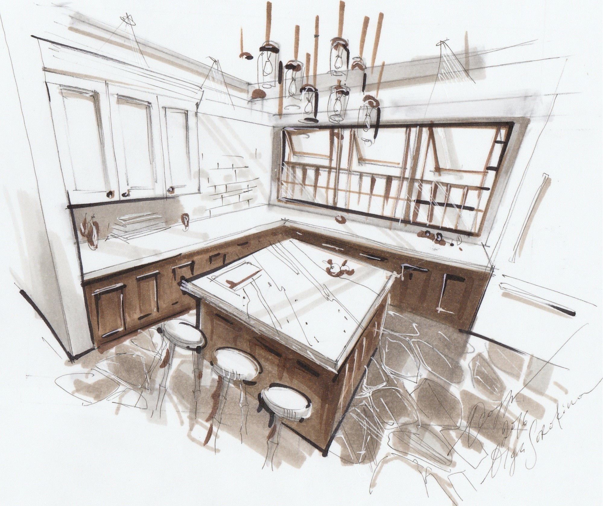 Interior Design Sketch: Interior Sketching With Markers. Advanced Level.