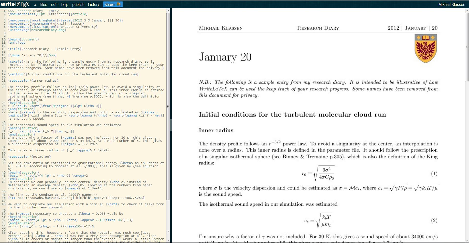 Klassen Research Diary Screenshot