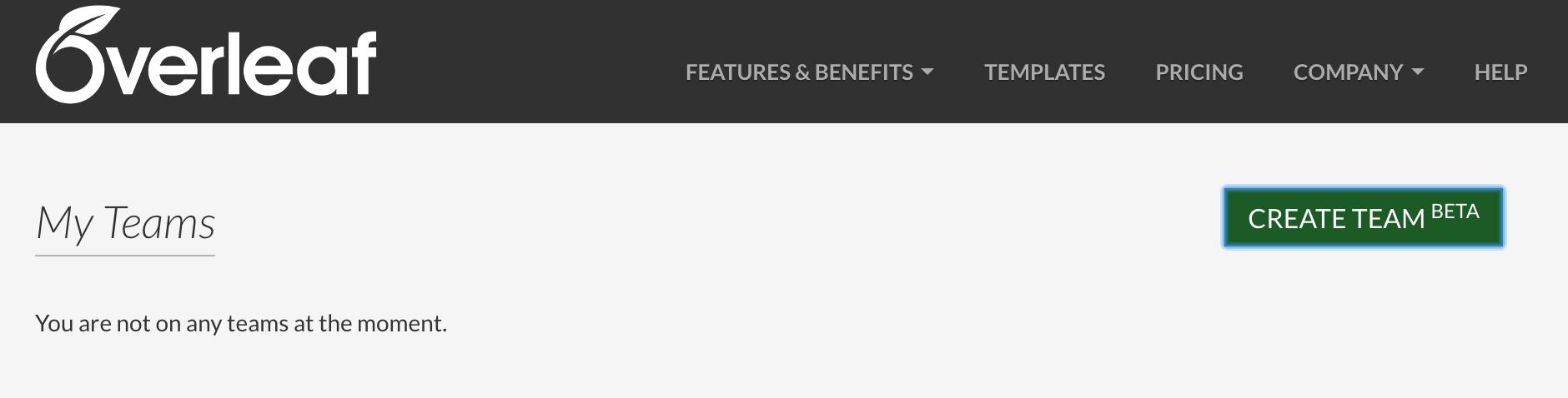 Create team (beta) button on Overleaf