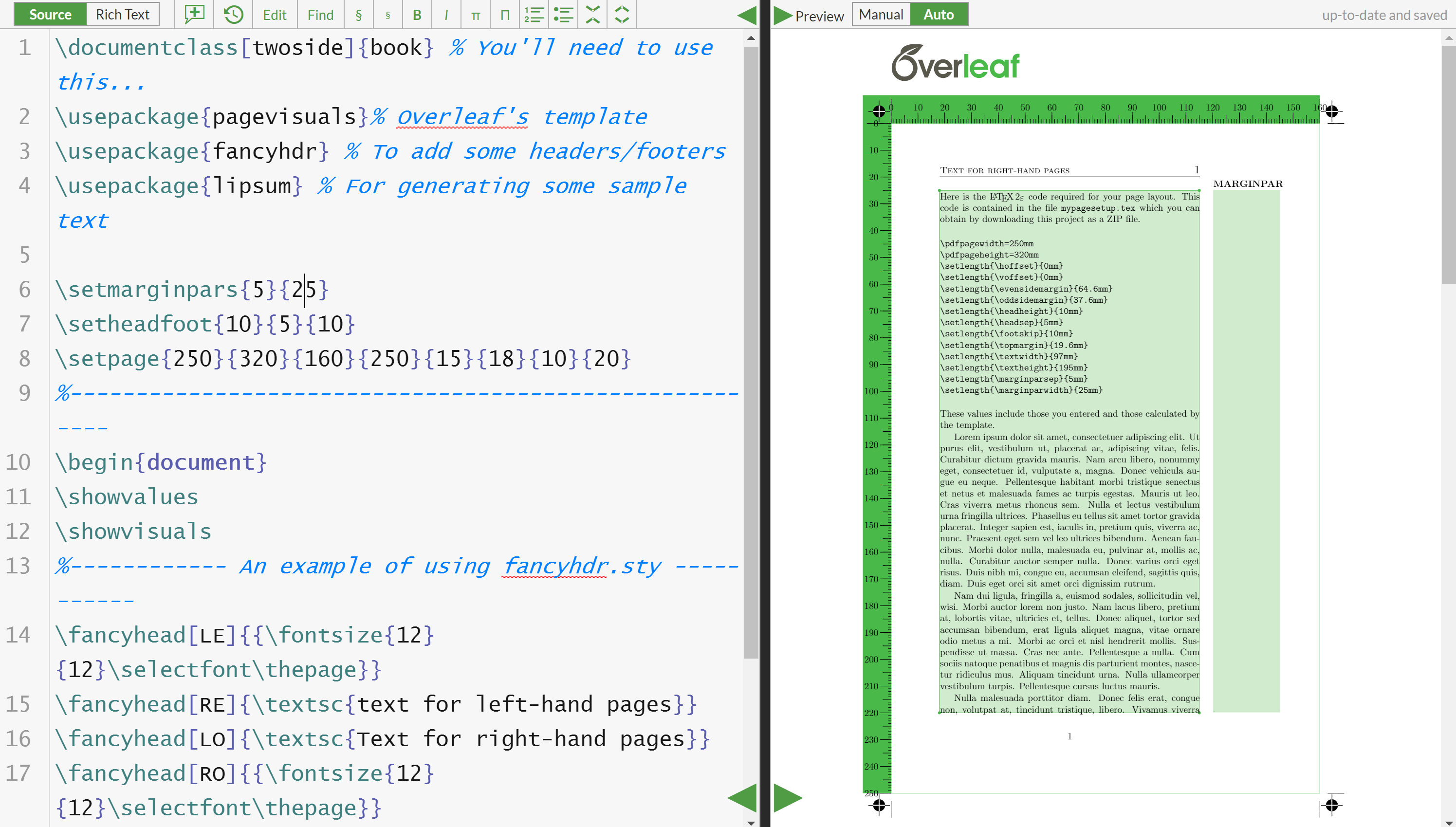 Screenshot of the Overleaf template