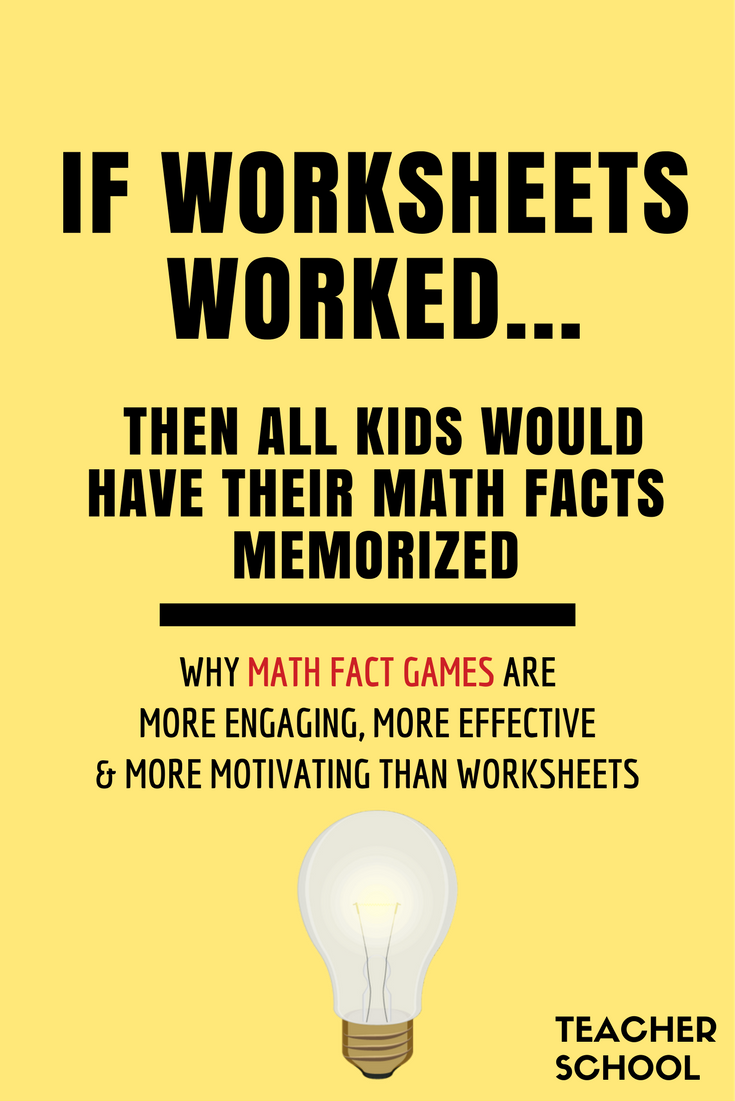 If Worksheets Worked, Then Kids Would Have All Their Math Facts Memorized