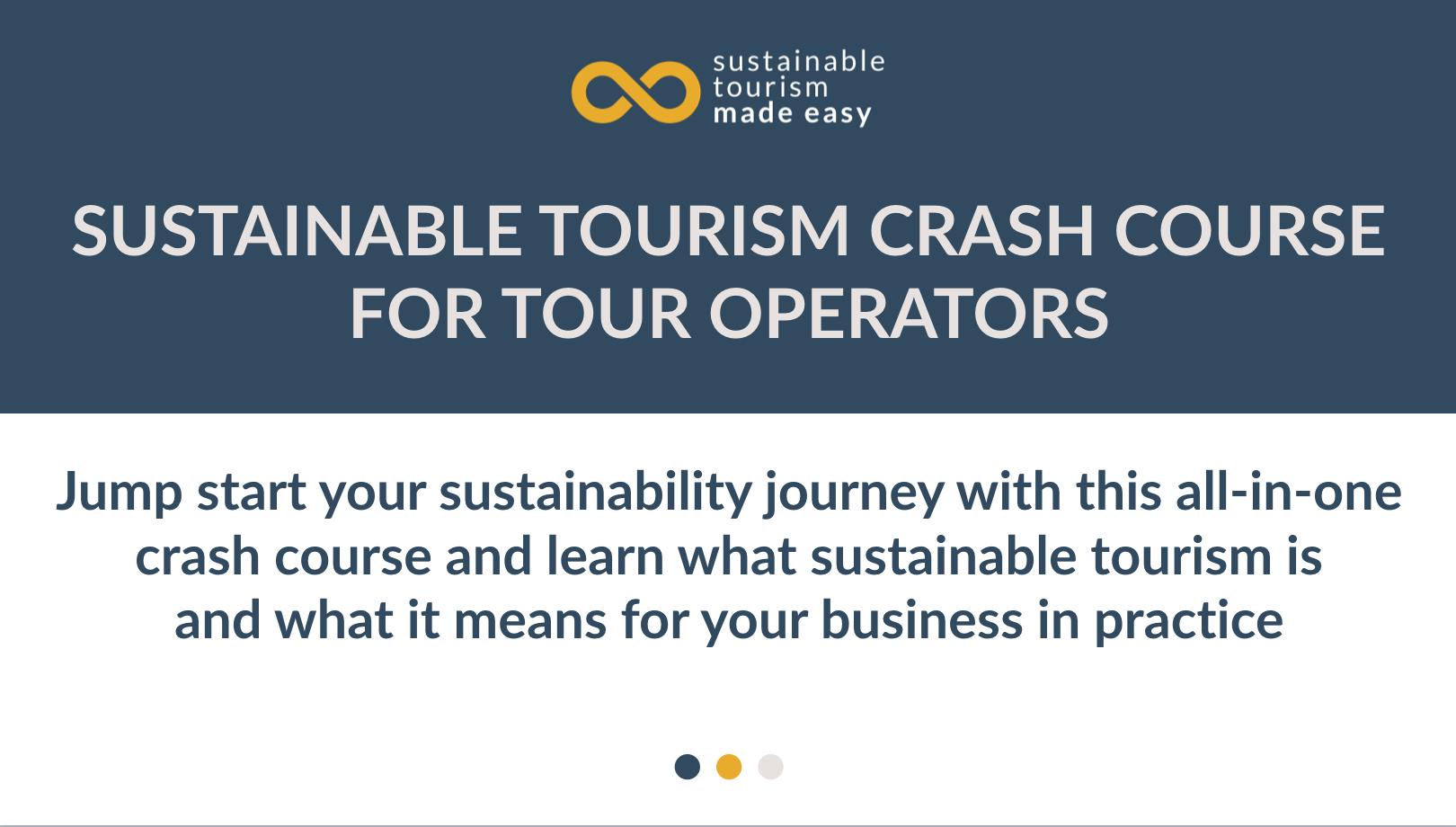 Sustainable tourism crash course for tour operators