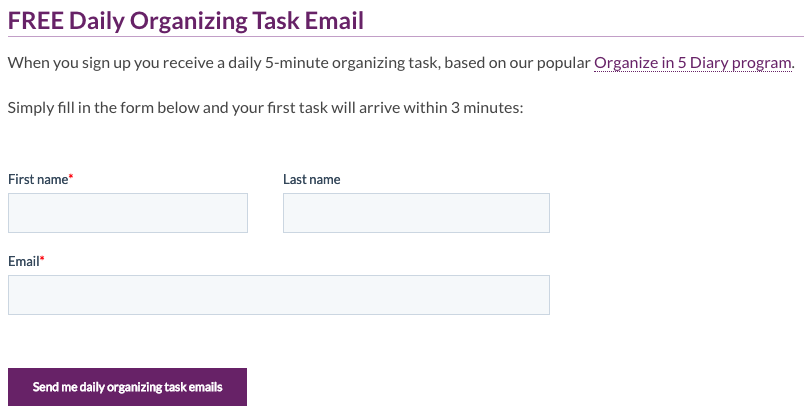 Sign Up To Receive Daily Task Emails