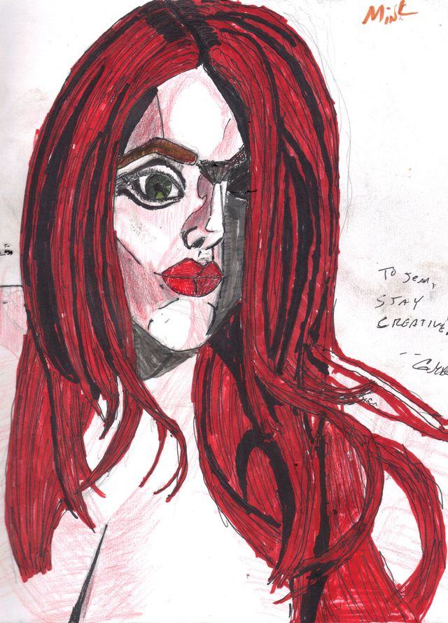 image: RED. GRAPHITE AND INDIA INK. $5.00