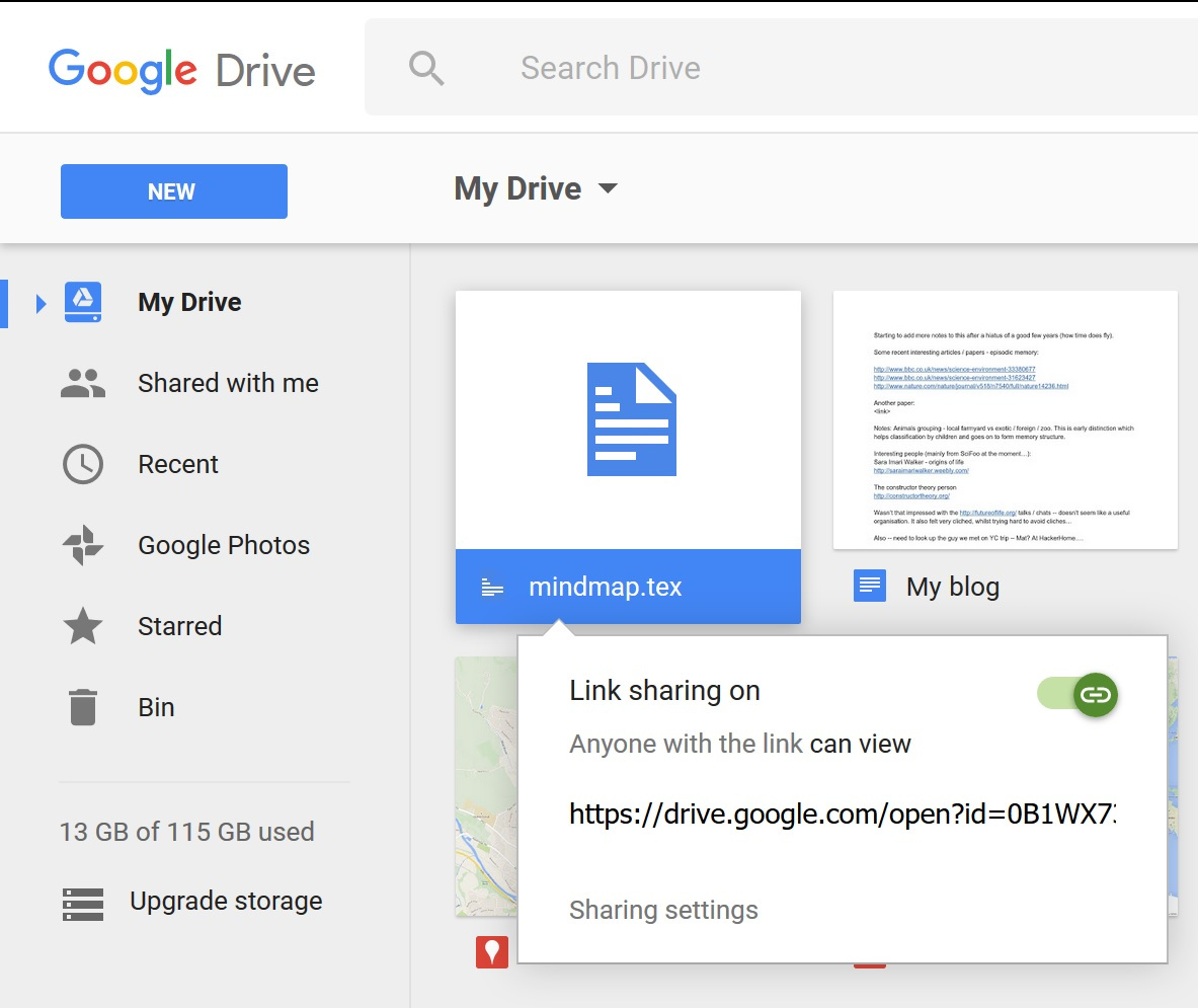 Google Drive get shareable link