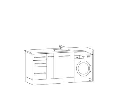 Vaskeromsinnredning, Forslag Kombinasjon 186 cm