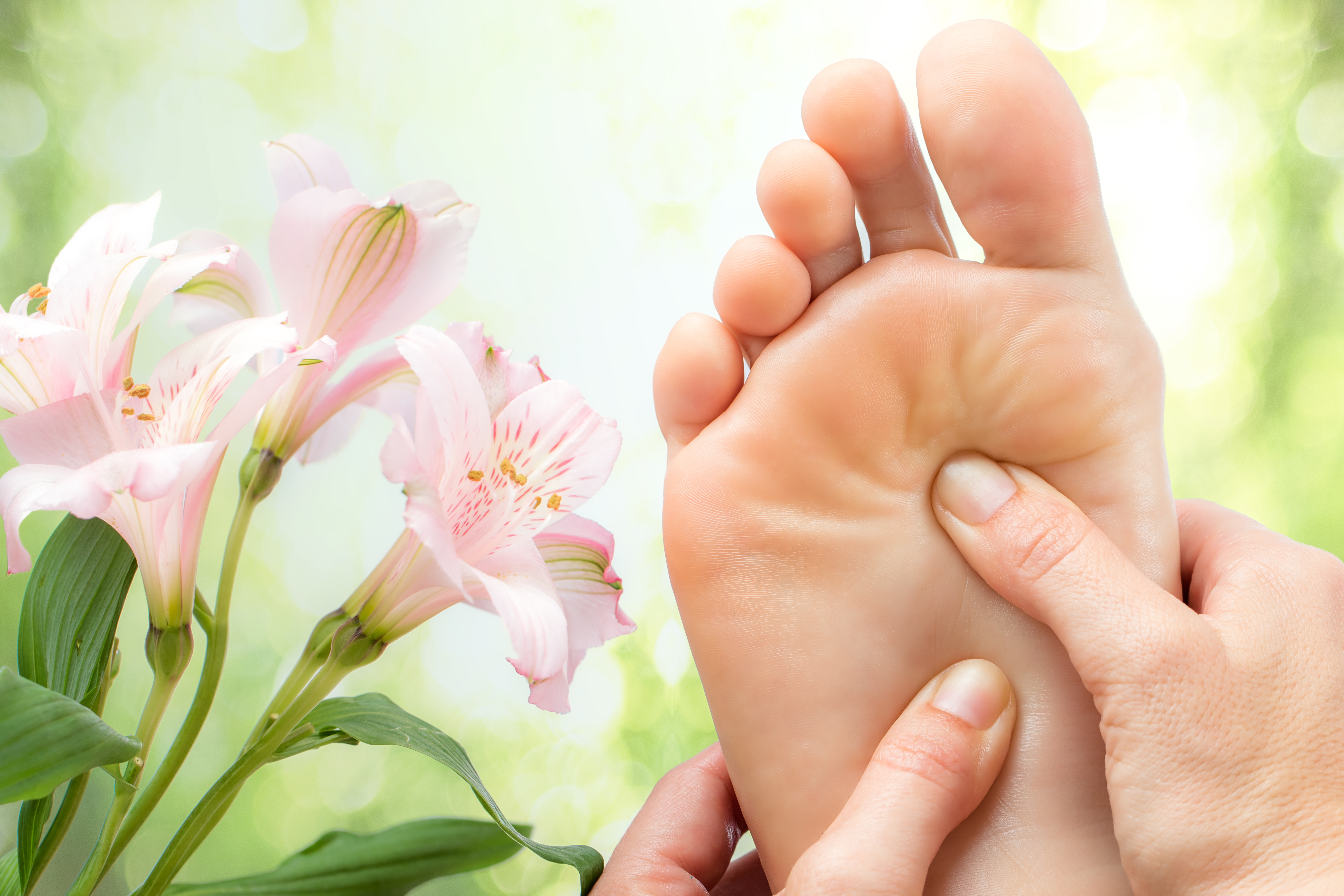 Foot reflexology with lilys