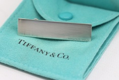 Tiffany & Co. Sterling Silver Tie Bar with Pouch & Box