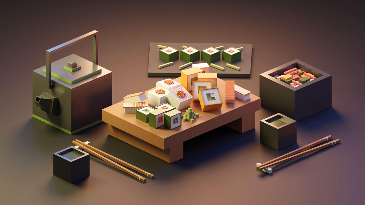 Sushi set by @fk_3d