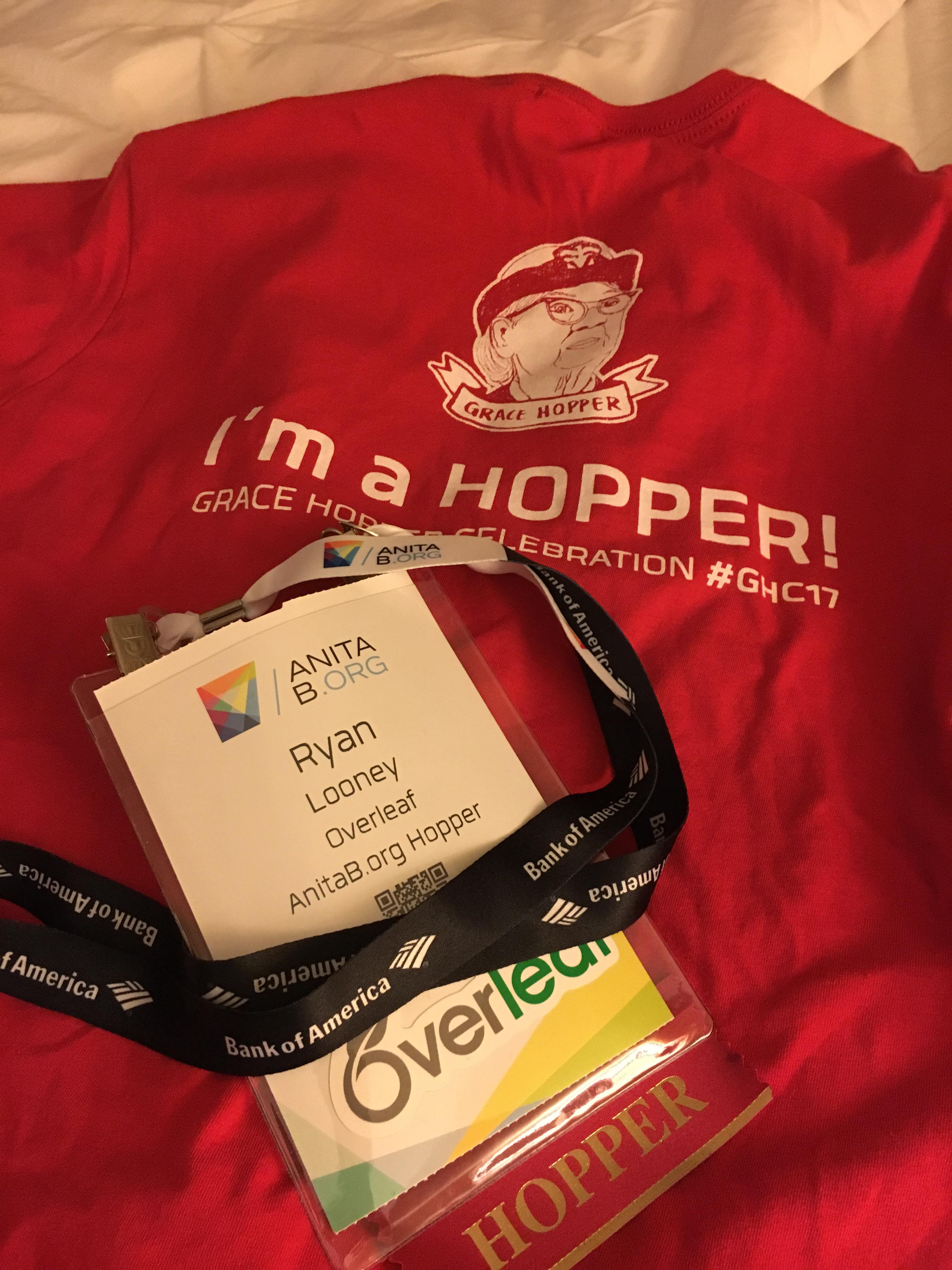 Hopper T shirt and name badge