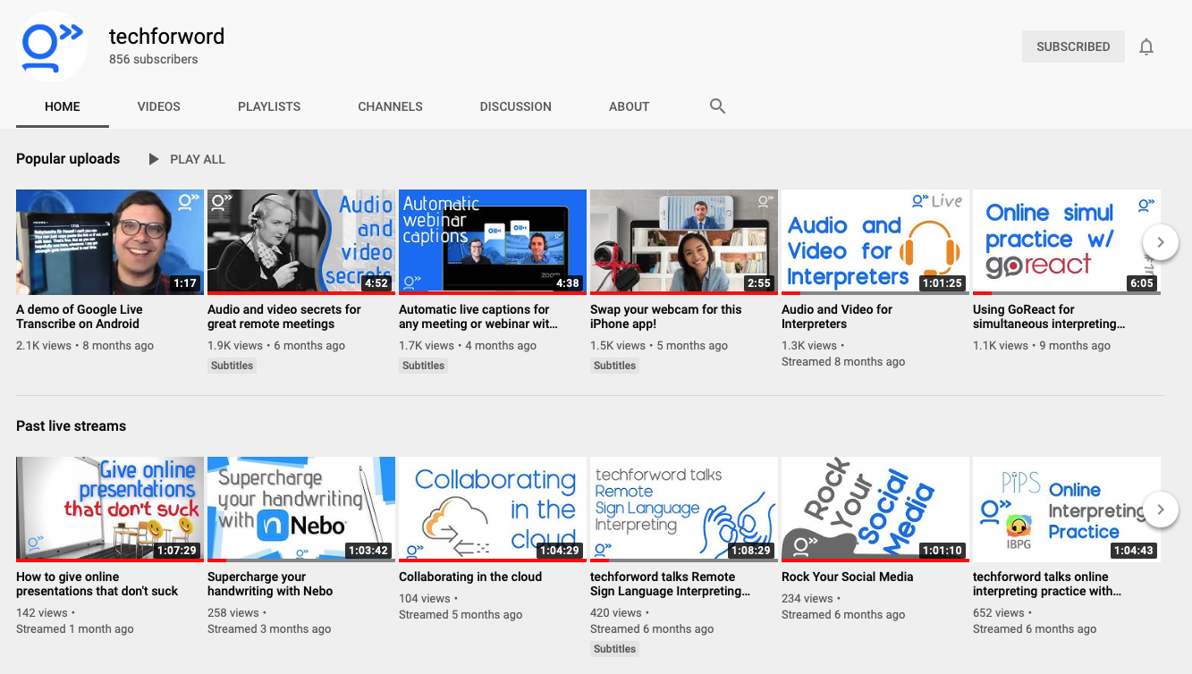 Screenshot of our YouTube channel