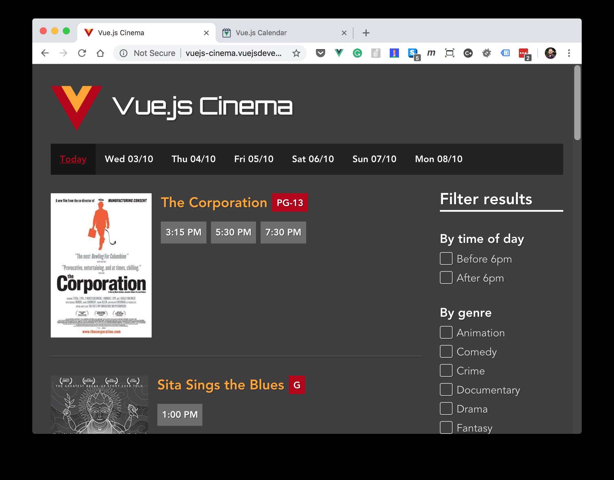 Vue.js Cinema