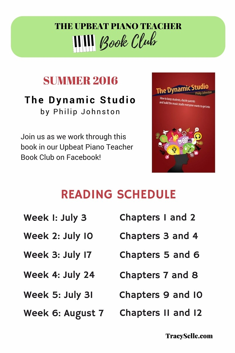 Upbeat Piano Teachers | The Dynamic Studio: Reading Schedule