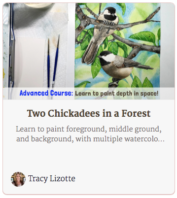 Two Chickadees in a Forest Painting
