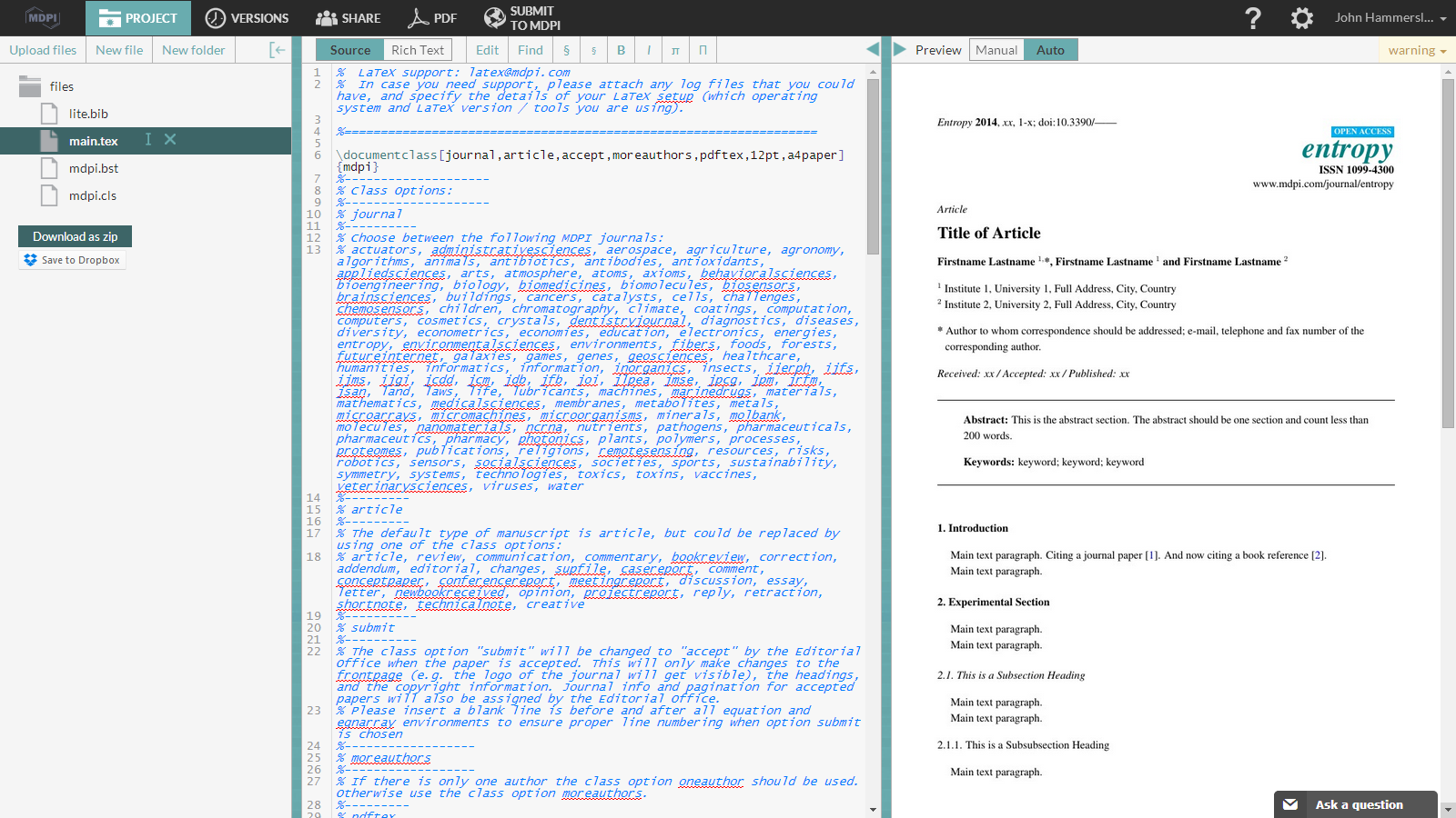 WriteLaTeX MDPI publish submission screenshot 2