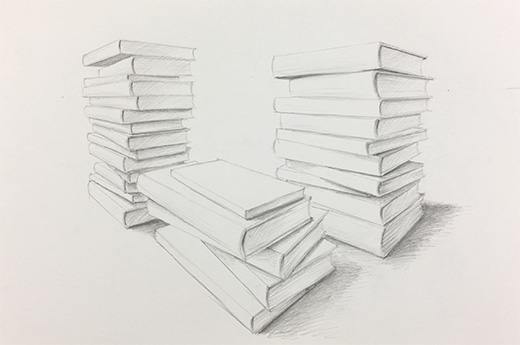 Stacks of books drawing
