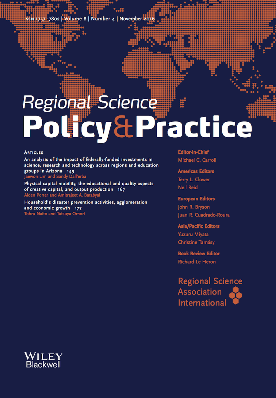 Template for submissions to Regional Science Policy & Practice