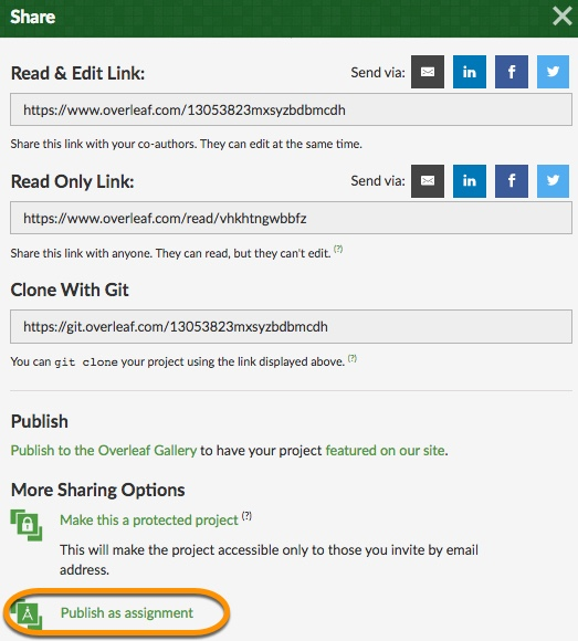 Share menu publish as assignment highlighted