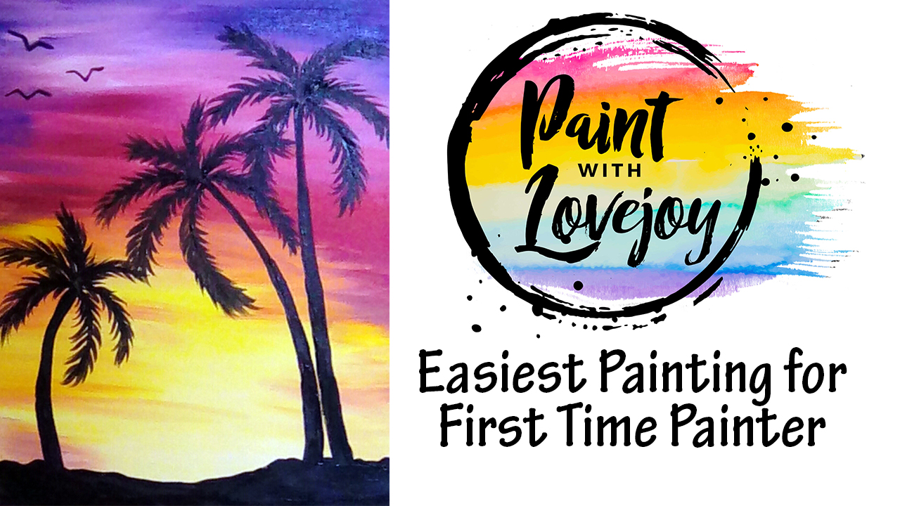 Free Easy Painting For A First Time Painter Sunset Palm Trees Pain