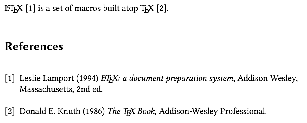 Citing entries from a thebibliography list