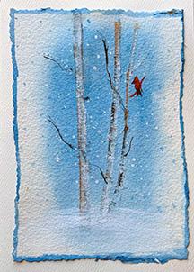 Scraped Birch Tree Holiday Card