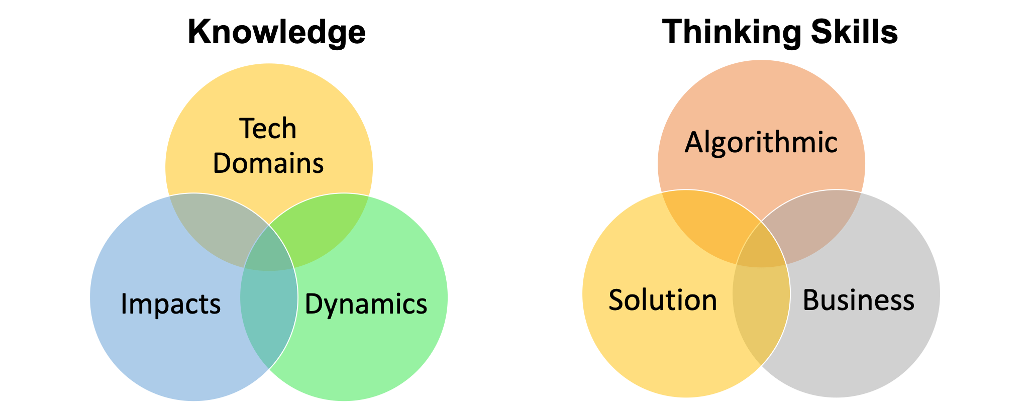 Knowledge: Tech Domains, Impacts, Dynamics. Thinking Skills: Algorithmic, Solution, Business.