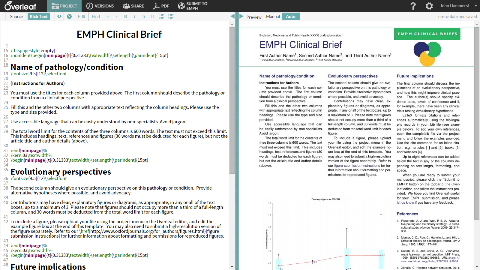write your clinical briefs in overleaf  new template for evolution  medicine and public health