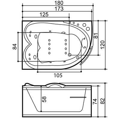Massasjebad A304 Standard, høyre