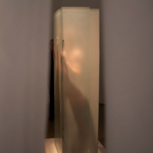 image: 3 Hour Durational Performance, Sheet Glass, Fabric, Wood, 3' x 3' x 6' ~2009