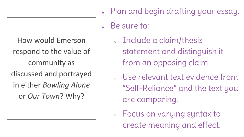 emerson self relience 5 paragraph essay Full glossary for emerson's essays essay it is to this adventure of self-trust that emerson both are masters of self-reliance because they apply.