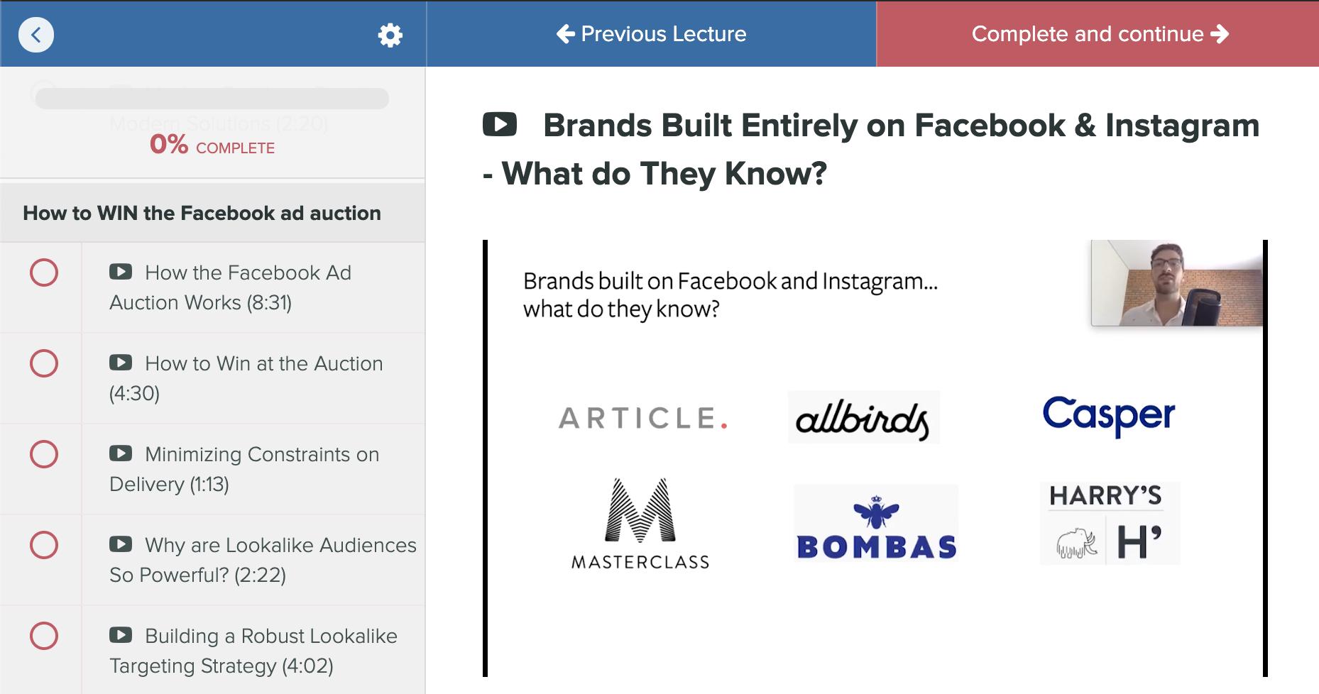 facebook ad auction training course