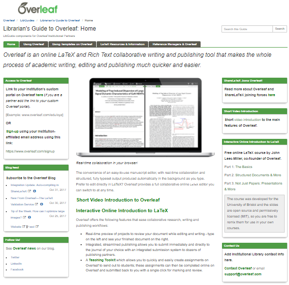Screenshot of an Overleaf LibGuide