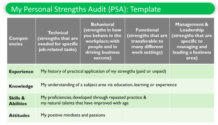 Personal Strength Audit Template