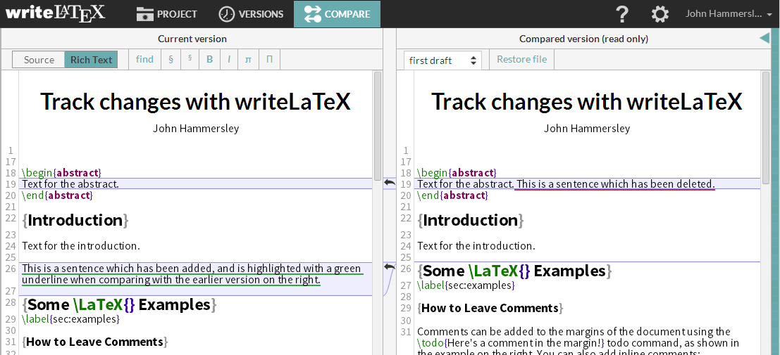 Writelatex version comparison diff screenshot