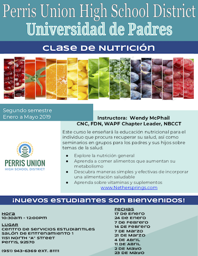 Nutrition Parent University Flyer SP