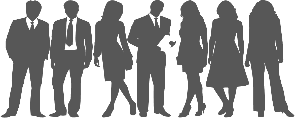 silhouette of seven people in business suits