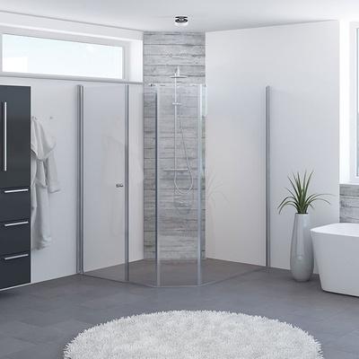 Fast glass Dusjløsning m/90cm dør, 2x30cm uten profil, 120cm med profil