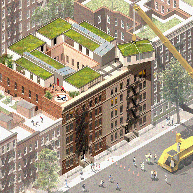 Axonometric rendering of a crane installing rooftop units on a housing structure