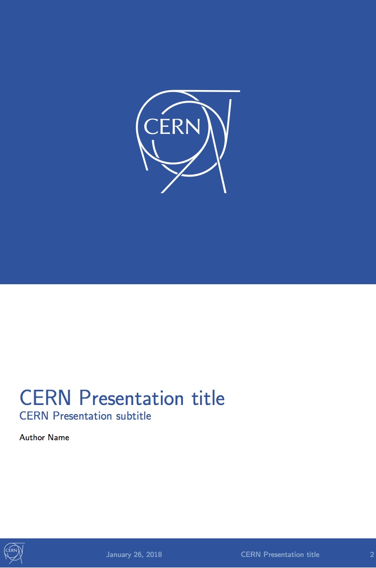 cern presentation - latex template on overleaf, Presentation templates