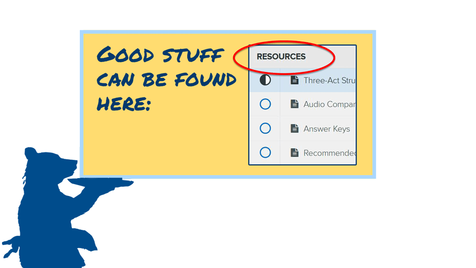 Good stuff can be found in the Resource section. (Look for it after Module 5.)
