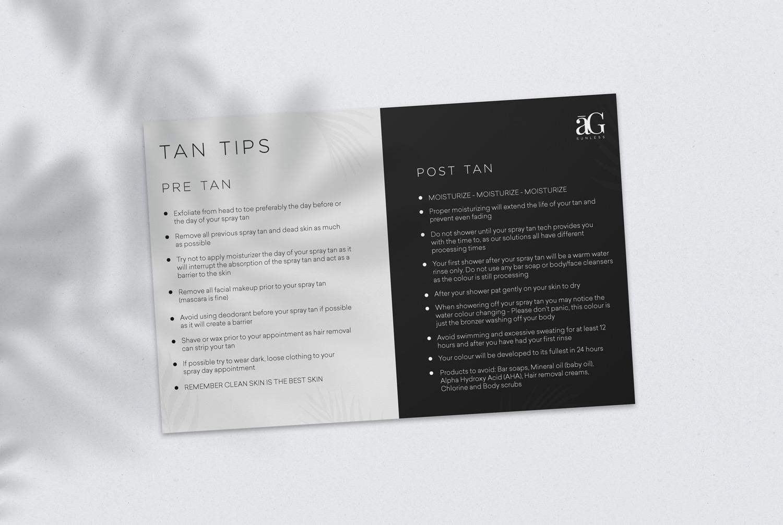 AG Pre and Post Tan Tips