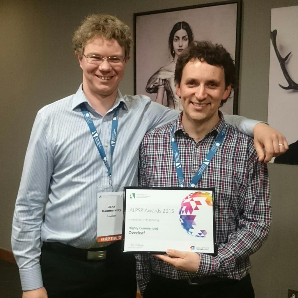 Overleaf co-founders John Hammersley and John Lees-Miller receive the award at alpsp15