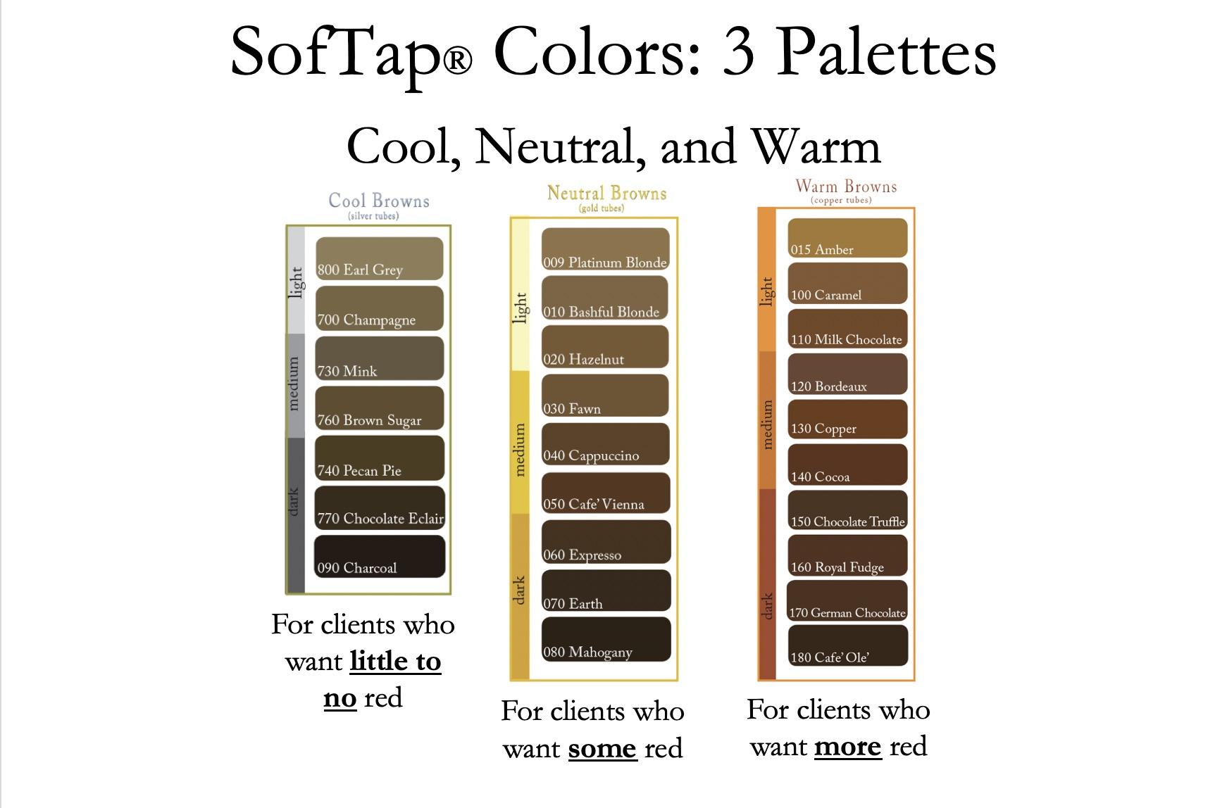 3 paletas de colores Softap