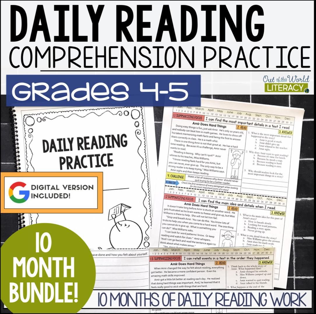 - Daily Reading Morning Work: Grades 4-5 GROWING Bundle Jen Bengel