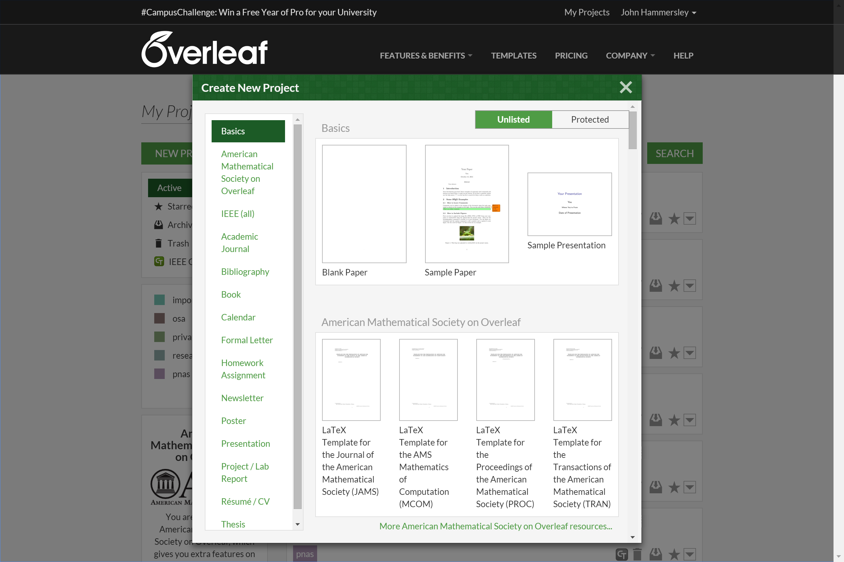 Overleaf University and Society templates featured in new project modal