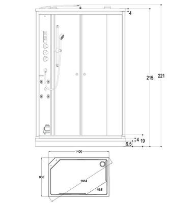 Steamdusj Paris 149 klar/sort speilglass, venstre