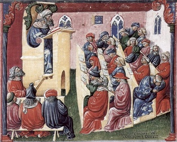 painting of a lecture from the 14th century